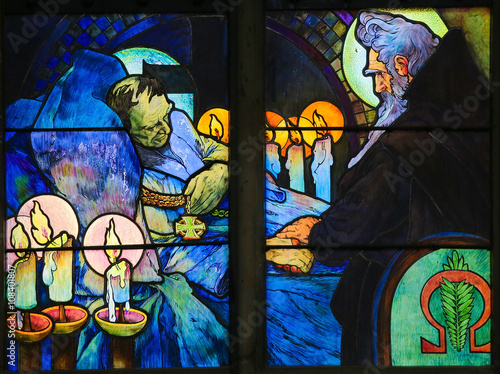 Poster Stained Glass of Saints Cyril and Methodius by Alphonse Mucha