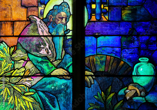 Poster Stained Glass of Saint Methodius by Alphonse Mucha