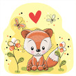 Fox with flowers and butterflies