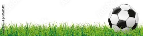 Fußball auf dem grünen Rasen Header