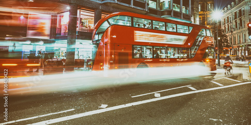 Poster Buses in London with light trails at night