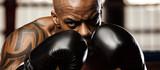 Sportsman kick boxer portrait after training