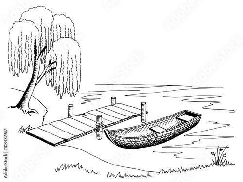 Naklejka Boat pier graphic art black white landscape illustration vector