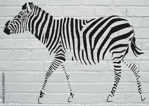 Obraz na Szkle Art urbain, Zèbre