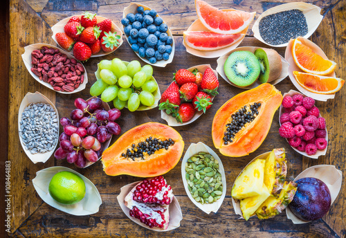 Fruits, berries, nuts, seeds top view.Healthy, detox, superfood.