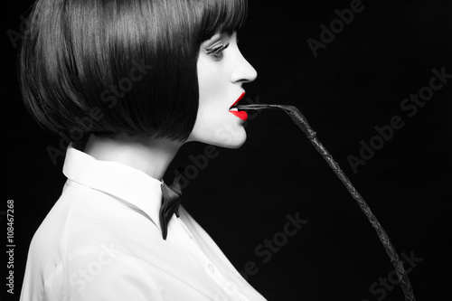 Woman in wig bite whip profile selective coloring Poster