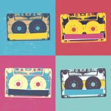 Fototapety Audiocassette retro popart music seamless background. Audiocasse