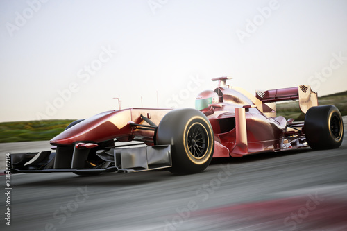 Tuinposter F1 Motor sports race car side angled view speeding down a track with motion blur. Photo realistic 3d scene with room for text or copy space