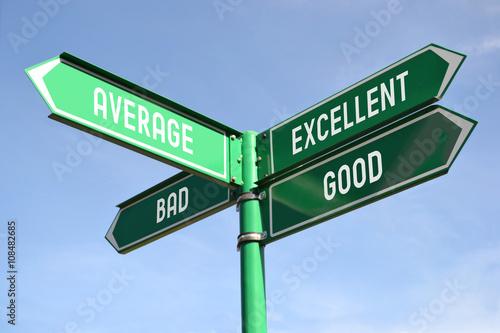 Good, average, excellent, bad signpost Poster