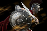 Spartan charge ,Spartan warrior in Battle dress attacking . Photo realistic 3d model scene.