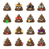 Set of shit icons, smiling faces, emoji, emoticons