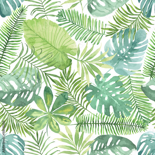 Tropical seamless pattern with leaves. Watercolor background with tropical leaves. - 108510250