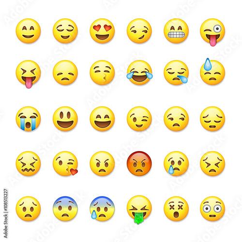 Set of emoticons, emoji isolated on