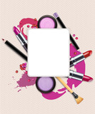 vector background with cosmetics and make-up objects
