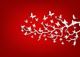 Paper tree and butterflies on red background