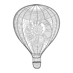 Aeronautic balloon coloring book for adults vector