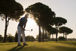 Quadro golf player hitting shot