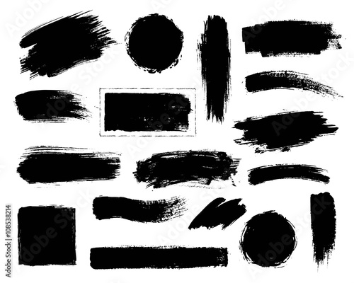 Set of black paint, ink brush strokes. - 108538214