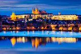 View of Charles Bridge and Prague Castle in twilight