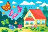 House and happy butterflies