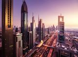 Fototapety Dubai skyline in sunset time, United Arab Emirates