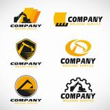 Fototapety Yellow and black Backhoe service logo vector set design