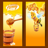 frame honey with bee and stick