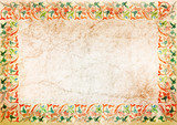 Fototapety collection of vintage background. ancient wall with cracks. Art Nouveau ornament.