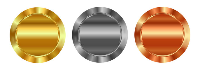 Vector set of blank templates of gold, silver, bronze, which can be used as labels, buttons, coins, medals