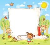 Fototapety cartoon frame with three kids outdoors