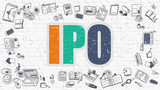 IPO - Initial Public Offering - Multicolor Concept with Doodle Icons Around on White Brick Wall Background. Modern Illustration with Elements of Doodle Design Style.
