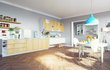 modern kitchen interior. 3d cioncept