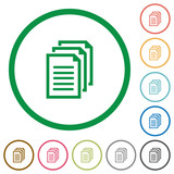 Documents outlined flat icons