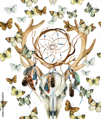 Deer skull seamless pattern. Animal skull with dreamcather and butterfly. - 108566073