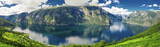 Fototapety Beautiful panorama with view to Aurland, Aurlandfjord and Sognefjord from Stegastein in Norway, Europe. Sognefjord is largest and second longest fjord in the world.