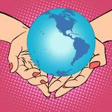Fototapety Planet Earth in hands, America