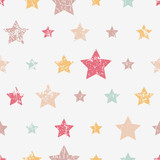 Vector seamless childish pattern with stars. Grunge style, shabby street art imitation. Vintage old paper texture.