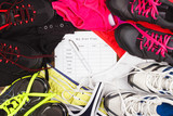 Sneakers, shorts and sports bra