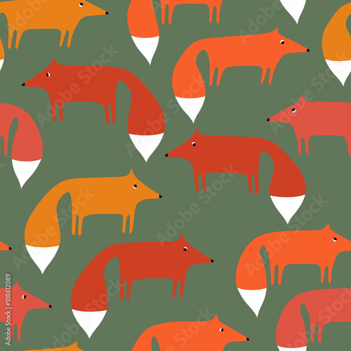 Cotton fabric Seamless pattern with cute foxes.