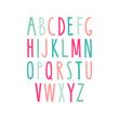 Hand drawn alphabet. Sans-serif elegant light font. Vector illustration.