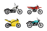 Fototapety Motorcycles in flat style.