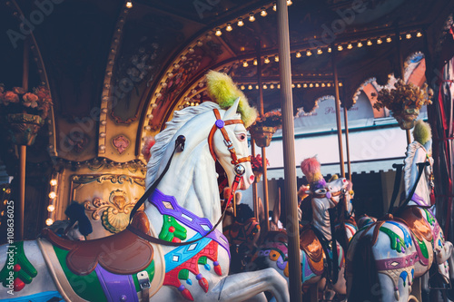 Fotobehang Imagination Luna park - carousel ride