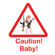 Постер, плакат: The sign on the car caution child Little baby Rambo Sticker for the car to alert the child