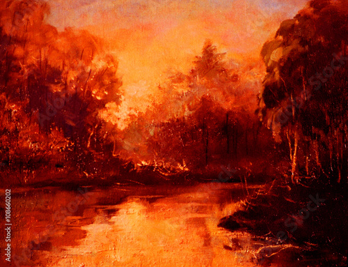 Canvas Rood paars sunset in forest on river, oil painting on canvas, illustration