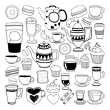 Fototapety Doodle hand drawn seamless pattern with coffee