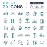 Fototapety Set Vector Flat Line Icons Cycling