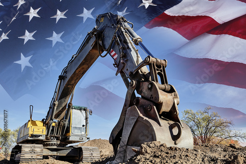 Industrial Heavy Equipment machine excavator USA flag concept bu Poster