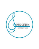 Treble clef. Business, art, music logo for company. Vector
