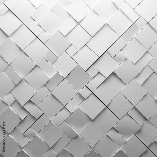 Geometric white abstract polygons, as tile wall