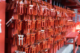 closed up the japanese amulet in temple